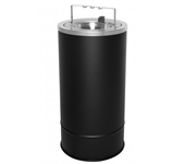 "Ex-Cell Kaiser 160F-BG BLX Pioneer Floor Urn with Flip Top and Bridge - 10"" Dia. x 20"" H - Textured Black in Color"