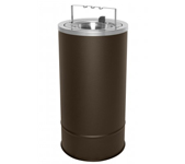 "Ex-Cell Kaiser 160F-BG BRX Pioneer Floor Urn with Flip Top and Bridge - 10"" Dia. x 20"" H - Textured Brown in Color"