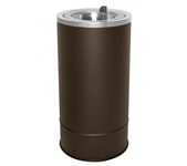 "Ex-Cell Kaiser 160F BRX Pioneer Floor Urn with Flip Top - 10"" Dia. x 20"" H - Textured Brown in Color"