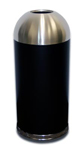 "Imprezza DOT15SSBKGL Bullet Dome Open Top Waste Can - 15 Gallon Capacity - 15"" Dia. x 35 1/2"" H - Black Body with Stainless Steel Top"