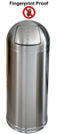 "Imprezza DT15FPSSGL Bullet Dome Top Trash Can - 15 Gallon Capacity - 15"" Dia. x 35 1/2"" H - Fingerprint Proof Stainless Steel"