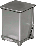 "Imprezza QSO7SS Quiet Close Step On Trash Can - 7 Gallon Capacity - 12 1/4"" D x 14"" W x 17 1/2"" H - Stainless Steel in Color"