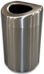 Imprezza SSOT35 Stainless Steel Curved Open Top Container - 30 Gallon Capacity - Satin Stainless Steel
