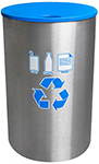 "Ex-Cell Kaiser RC-2234F SS Celebrity Collection Single Stream Recycling Receptacle - 23"" Dia. x 35"" H - 45 Gallon Capacity - Stainless Steel"