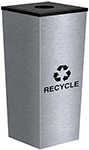 Ex-Cell Kaiser RC-MTR-1 SS Metro Collection Single Stream Recycling Receptacle - 14� Sq. x 31� H - 18 Gallon Capacity - Stainless Steel