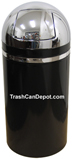 Monarch Series Dome Top Trash Can - Black body with Chrome Top and Band - 15 Gallon Capacity