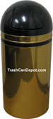 Monarch Series Dome Top Trash Can - Brass body with Black Top and Band - 15 Gallon Capacity