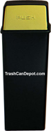 Monarch Series Metal Trash Can with Push Top - Black body with Brass Doors - 21 Gallon Capacity