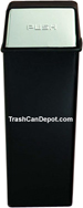 Monarch Series Metal Trash Can with Push Top - Black body with Chrome Doors - 21 Gallon Capacity