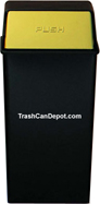 Monarch Series Metal Waste Receptacle with Push Top - Black body with Brass Doors - 36 Gallon Capacity