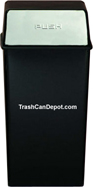Monarch Series Metal Waste Receptacle with Push Top - Black body with Chrome Doors - 36 Gallon Capacity