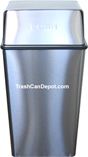 "Stainless Steel Metal Wastewatcher with Push Top - 36 Gallon Capacity - 18"" Sq. x 37 1/2"" H"