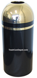 Monarch Series Open Dome Top Trash Can - Black with Brass Top and Band - 15 Gallon Capacity