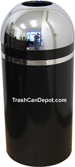Monarch Series Open Dome Top Trash Can - Black with Chrome Top and Band - 15 Gallon Capacity