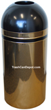 Monarch Series Open Dome Top Trash Can - Brass Body with Black Top and Band - 15 Gallon Capacity