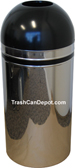 Monarch Series Open Dome Top Trash Can - Chrome with Black Top and Band - 15 Gallon Capacity