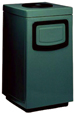 Fiberglass Side Entry Square Ash 'N Trash Receptacle w/Doors - 36 Gallon Capacity