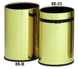 Monarch Series Metal Wastebasket - Brass with Black band - 4-1/4 Gallon Capacity